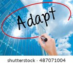 Small photo of Man Hand writing Adapt with black marker on visual screen. Isolated on background. Business, technology, internet concept. Modern business skyscrapers background. Stock Photo