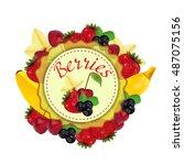 berries and fruit. label....   Shutterstock .eps vector #487075156