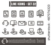 icons set communication line...