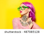 attractive young woman with... | Shutterstock . vector #487085128