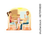 family holiday cartoon concepts.... | Shutterstock .eps vector #487094800