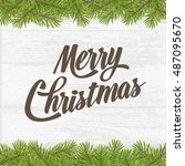 merry christmas on wood plank... | Shutterstock .eps vector #487095670