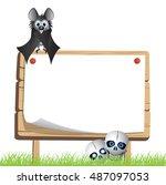horror halloween bats  ... | Shutterstock .eps vector #487097053