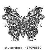 butterfly hand drawing   Shutterstock . vector #487098880