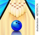 bowling alley  vector icon | Shutterstock .eps vector #487099174
