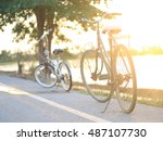 bicycle and sunset | Shutterstock . vector #487107730