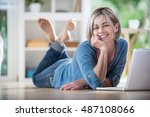 looking at camera. a pretty... | Shutterstock . vector #487108066