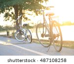 bicycles and sunset | Shutterstock . vector #487108258