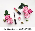 decorative flat lay composition ...   Shutterstock . vector #487108510