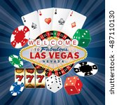 las vegas sign with casino... | Shutterstock .eps vector #487110130