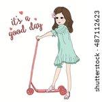 cute girl t shirt graphics girl ... | Shutterstock .eps vector #487112623