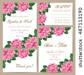 set of wedding cards with... | Shutterstock .eps vector #487113190