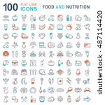 big set vector line icons meal  ... | Shutterstock .eps vector #487114420