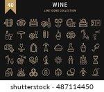 set vector line icons in flat... | Shutterstock .eps vector #487114450