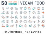 set vector line icons in flat... | Shutterstock .eps vector #487114456