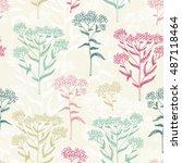 flower seamless pattern ... | Shutterstock . vector #487118464