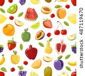 miscellaneous vector fruits... | Shutterstock .eps vector #487119670