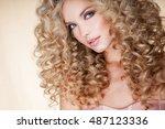 beautiful blonde woman. healthy ... | Shutterstock . vector #487123336