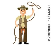vector cowboy with lasso. flat... | Shutterstock .eps vector #487123534