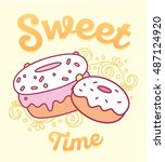 vector illustration of cute two ... | Shutterstock .eps vector #487124920