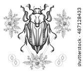 boho tattoo. blackwork scarab...   Shutterstock .eps vector #487128433