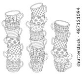 vector hand drawn stack of cup... | Shutterstock .eps vector #487131094