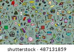 sewing  seamless pattern for... | Shutterstock .eps vector #487131859