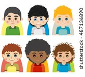 vector male man character faces ... | Shutterstock .eps vector #487136890