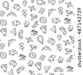 cartoon funny seamless pattern... | Shutterstock .eps vector #487143739