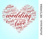 wedding and love word cloud in... | Shutterstock .eps vector #487144066