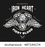 motorcycle engine and wings....   Shutterstock . vector #487144174