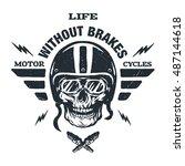 racer skull in helmet vintage... | Shutterstock . vector #487144618