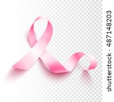 realistic pink ribbon  breast... | Shutterstock .eps vector #487148203