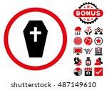 coffin icon with bonus design... | Shutterstock .eps vector #487149610