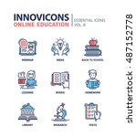 online education   modern thin... | Shutterstock . vector #487152778