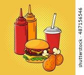 vector hand drawn pop art...   Shutterstock .eps vector #487156546