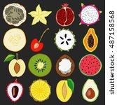 set of fresh hand drawn fruits... | Shutterstock .eps vector #487158568