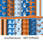 set of christmas abstract... | Shutterstock .eps vector #487159663