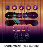 splitboard ski tour backcountry ... | Shutterstock .eps vector #487160680