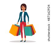 woman with shopping bags. shop... | Shutterstock .eps vector #487162924