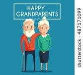 happy grandparents. vector... | Shutterstock .eps vector #487171099