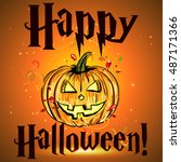 happy halloween poster. vector... | Shutterstock .eps vector #487171366