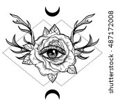 all seeing eye symbol over rose ... | Shutterstock .eps vector #487172008