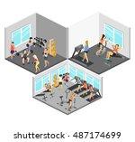 isometric interior of gym.... | Shutterstock .eps vector #487174699