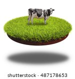 cow grazing on the round cut... | Shutterstock . vector #487178653