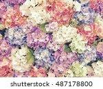 colorful flower pattern... | Shutterstock . vector #487178800