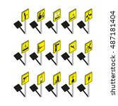 warning signs. set of vector... | Shutterstock .eps vector #487181404