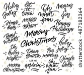 set of christmas brush... | Shutterstock .eps vector #487182364