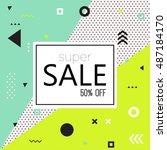 memphis style. sale modern... | Shutterstock .eps vector #487184170