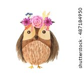 cute cartoon watercolor forest... | Shutterstock . vector #487184950